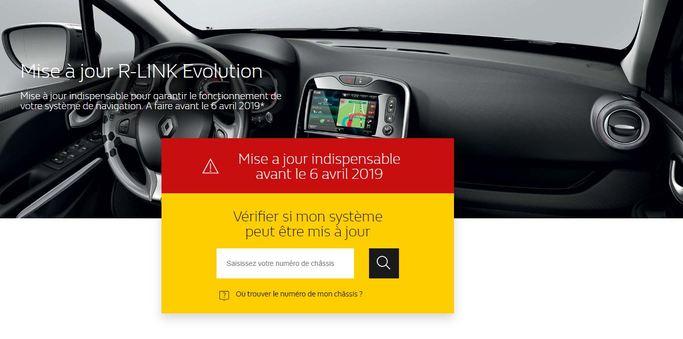 Site internet Renault mise à jour R-link