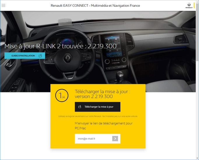Mise à jour R-link trouvée capture d'écran site internet Renault