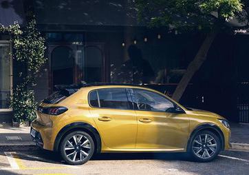 Peugeot 208 jaune de profil