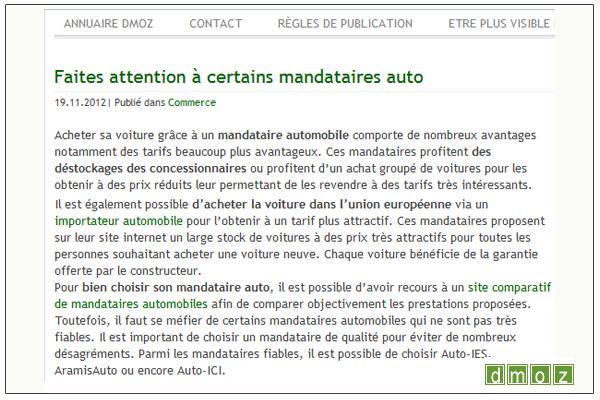 Article Auto ICI sur DMOZ